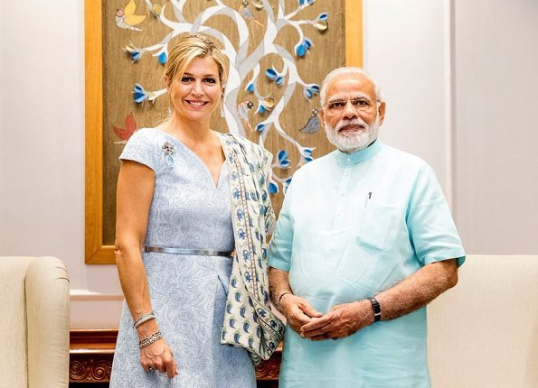 Queen Maxima met with Prime Minister Narendra Modi and interim Finance Minister Piyush Goyal. Queen Maxima wore recycled Natan dress