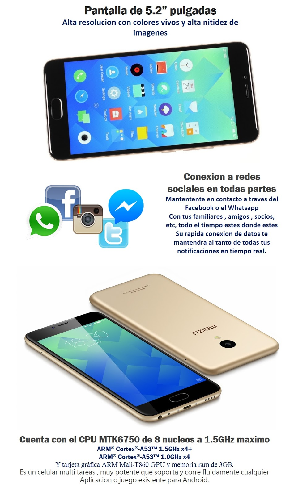 celular meizu M5 3GB RAM 32GB HUELLA DACTILAR smartphone android flyme octa core