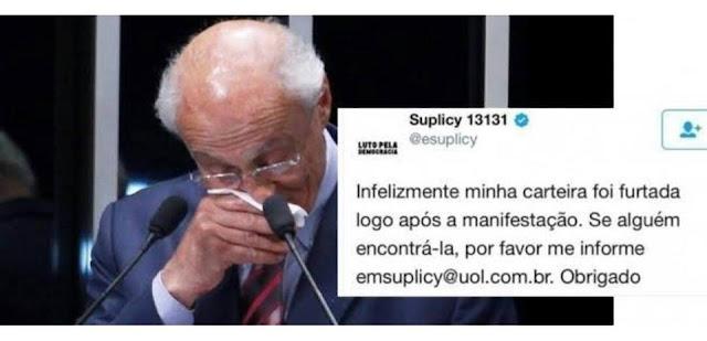 """Roubaram a carteira do Suplicy no """"Fora Temer"""" em São Paulo"""