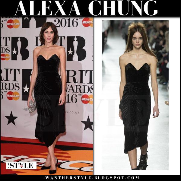 Alexa Chung in black velvet bustier preen dress brit awards 2016 what she wore