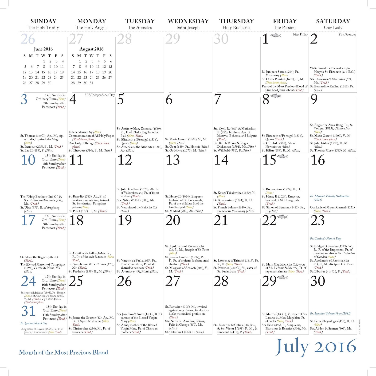 New Liturgical Movement Calendar From The Monks Of Norcia