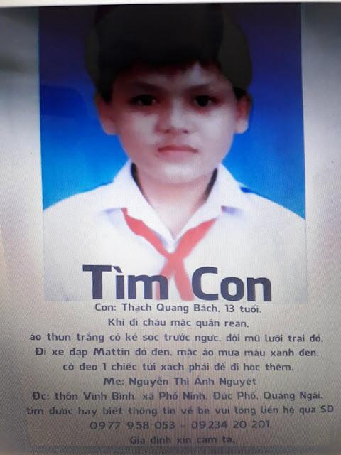 Đã tìm thấy nam sinh lớp 7 ở Quảng Ngãi mất tích trên đường đi học về