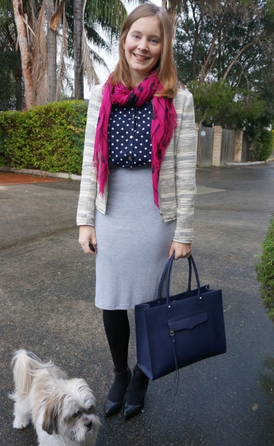 corporate style: navy shirt dress worn as top with grey jersey pencil skirt winter