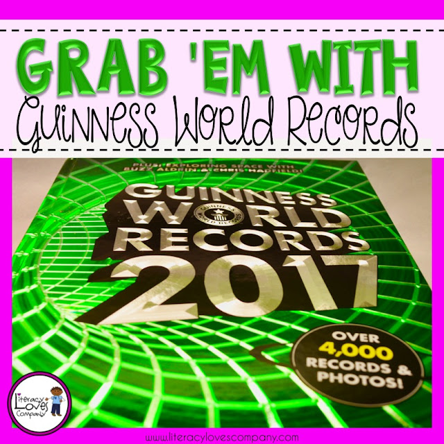 Looking for attention grabbers for writing, math, social studies, and science?  Visit Literacy Loves Company to see how using Guinness World Record can be used for writing inspiration, math centers, and anticipatory sets!  You'll see Guinness World Records in a whole new way!