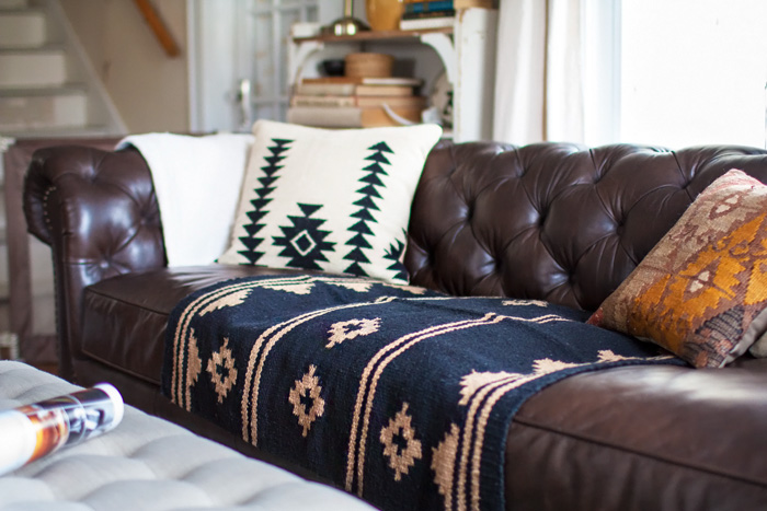 Living room redo with a new leather sofa Leather sofa throws