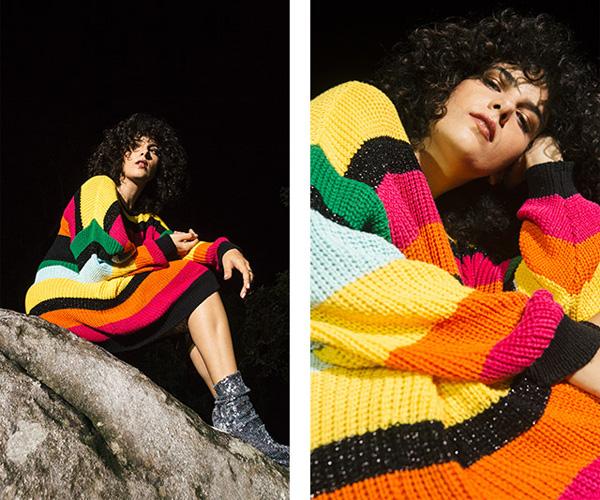 Farm e Céu coleção Velvet Caju vestido de tricot colorido