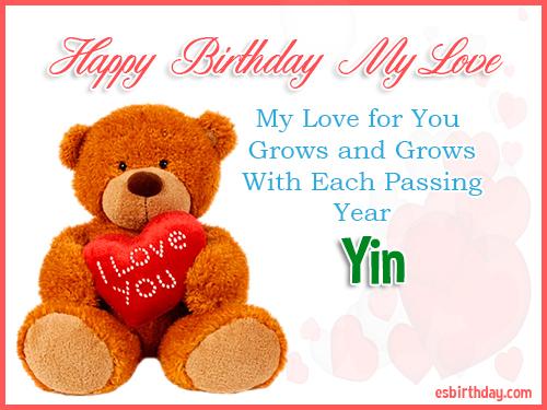 Yin Happy Birthday My Love