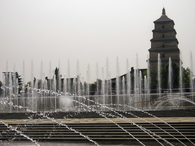 Fountain outside the Giant Wild Goose Pagoda in Xi'an China