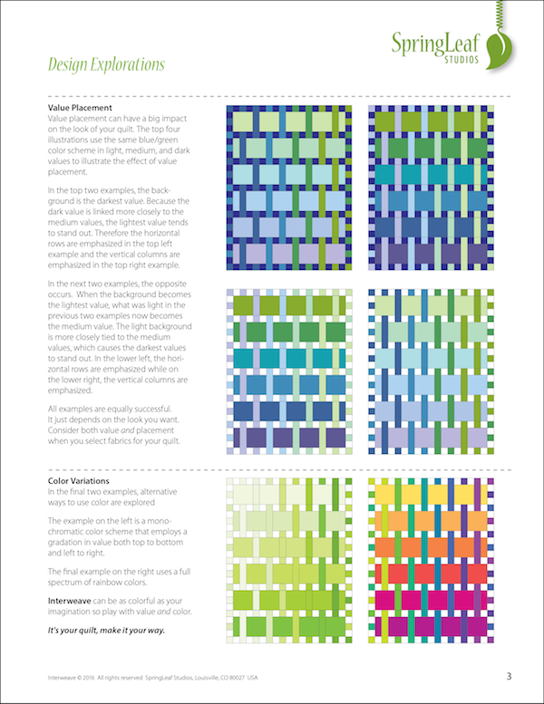 Interweave quilt pattern, Springleaf Studios,