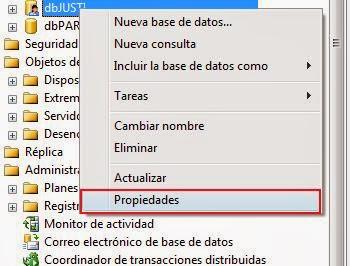 propiedades de la base de datos