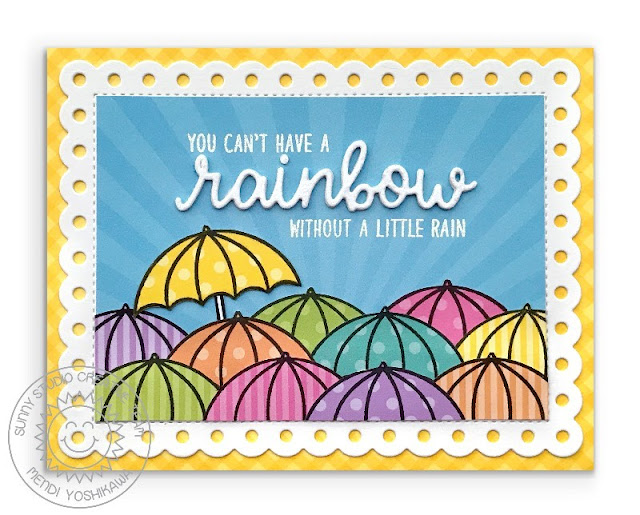 Sunny Studio Stamps: You Can't Have A Rainbow Without A Little Rain Umbrella Card by Mendi (using Rain or Shine and Over The Rainbow Stamps, Frilly Frames Polka-Dot Dies, Dots & Stripes Pastel Paper, Spring Sunburst Paper & Gingham Pastels Paper)
