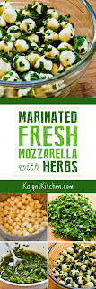Marinated Fresh Mozzarella with Herbs found on KalynsKitchen.com