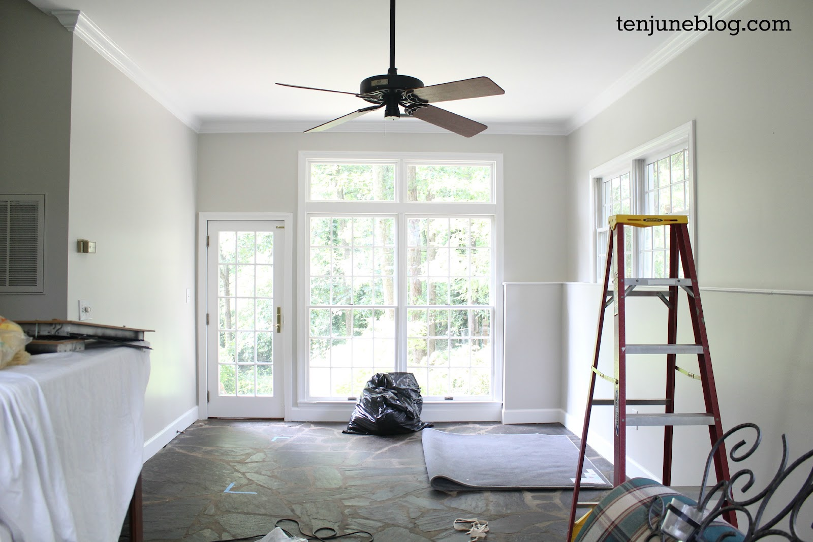Ten june slate room living room makeover light bright - What colour to paint my living room ...