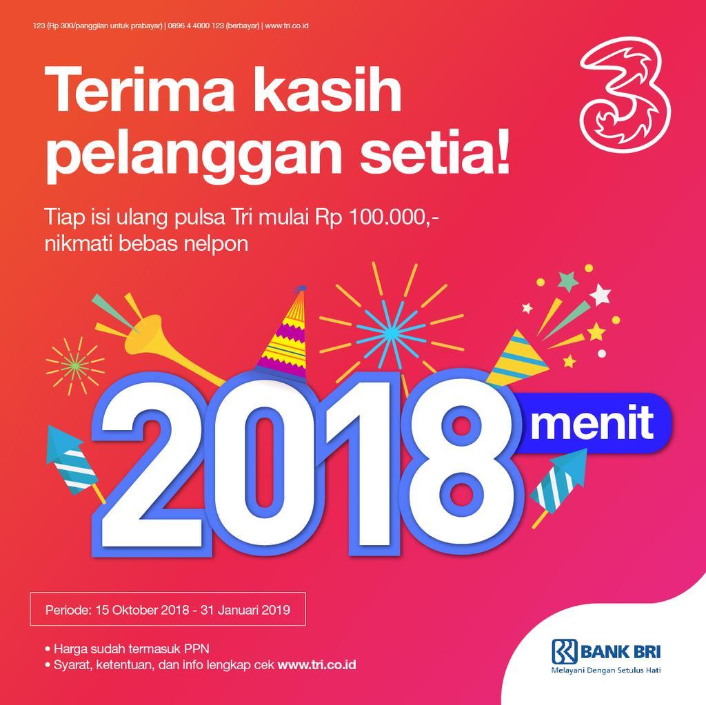 Tri - Promo Akhir Tahun Bersama Tri & Bank Favoritmu (s.d 31 Jan 2019)