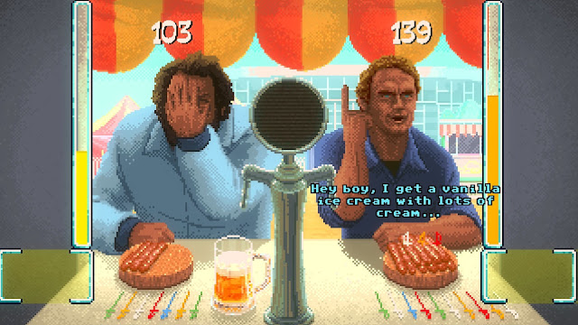 Bud Spencer & Terence Hill - Slaps and Beans - Terence won the sausage and beer minigame against Bud, and asks for a vanilla ice-cream as a reward.