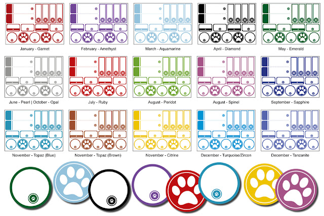 Printable dog treat tags and labels in all the different birthstone colours by month