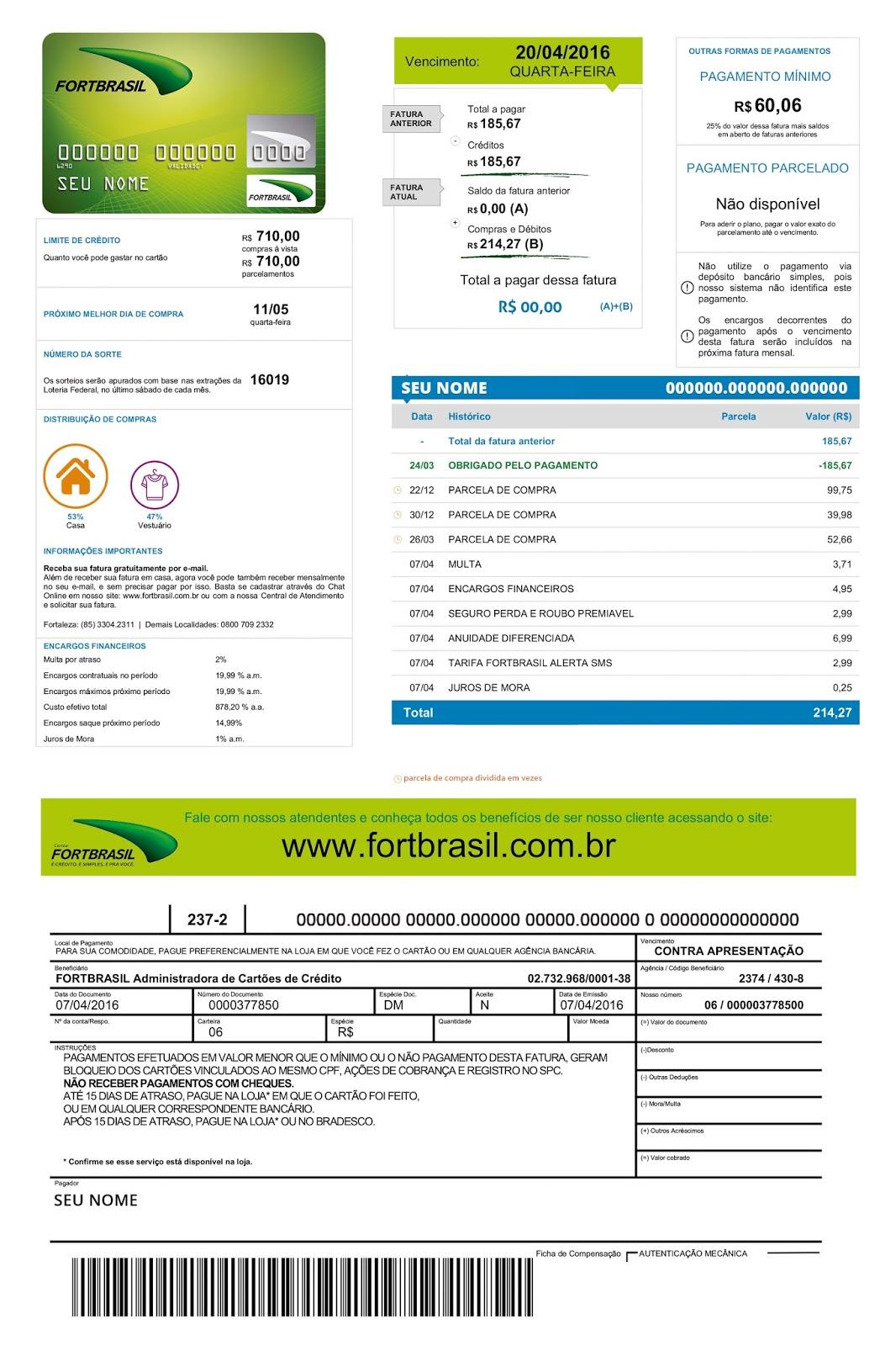 98999c1cc0 Fortbrasil desenvolve fatura personalizada