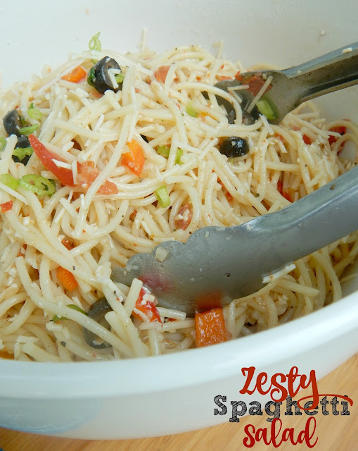 Zesty Spaghetti Salad...my new favorite summer pasta salad!  Tangy, zesty and full of flavor! (sweetandsavoryfood.com)