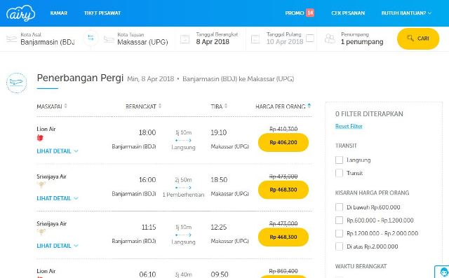 Pengalaman Beli Tiket Pesawat di Airy, Perbandingan dengan Traveloka