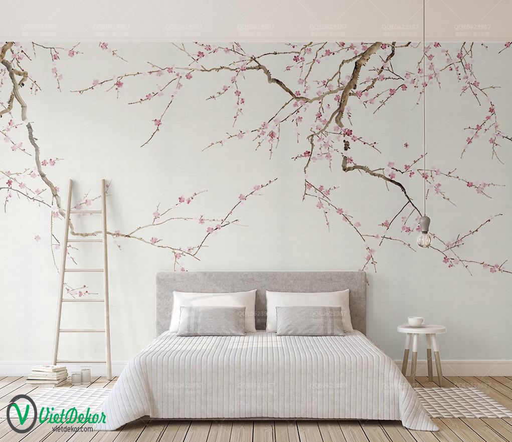 Tranh dán tường 3d hoa đào nở
