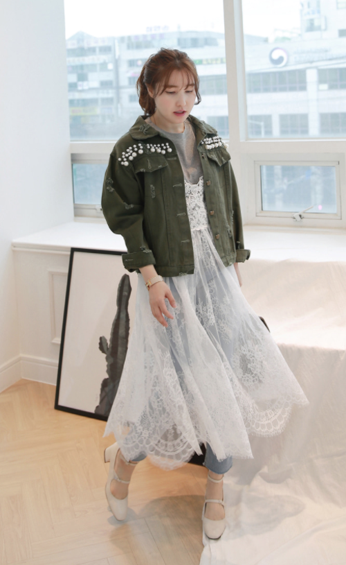 Bead And Patch Embellished Distressed Jacket