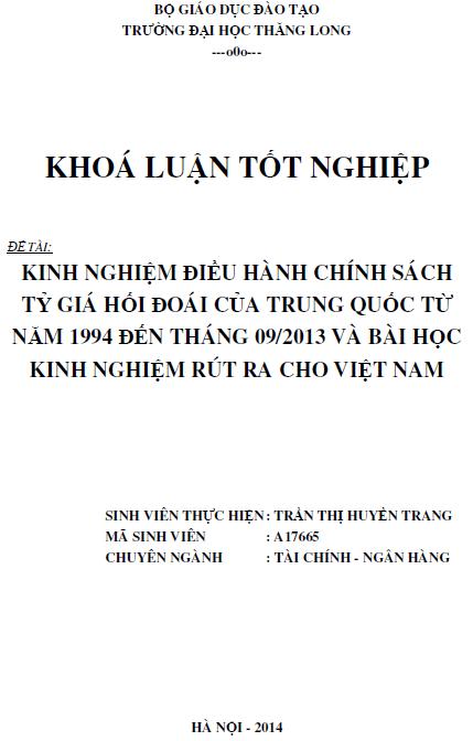 Kinh nghiệm điều hành chính sách tỷ giá hối đoái của Trung Quốc từ năm 1994 đến tháng 09/2013 và bài học kinh nghiệm rút ra cho Việt Nam