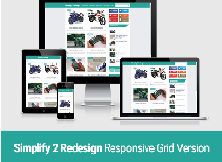 Simplify 2 blogger template redesign com Grid responsive