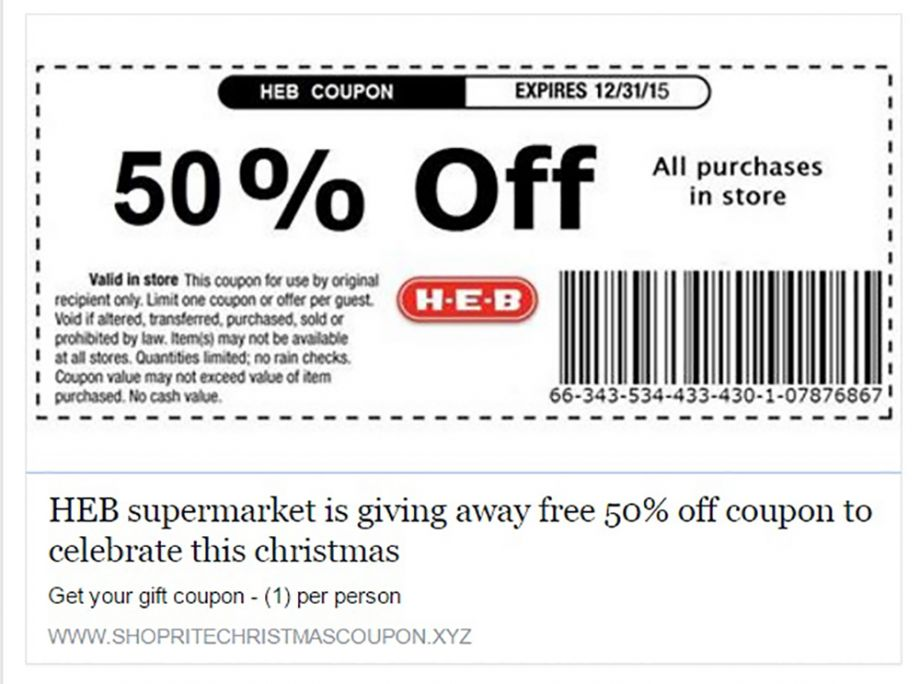 image regarding Heb Printable Coupons known as Spam Warn: 50% Off HEB Coupon Is A Substantial Phony