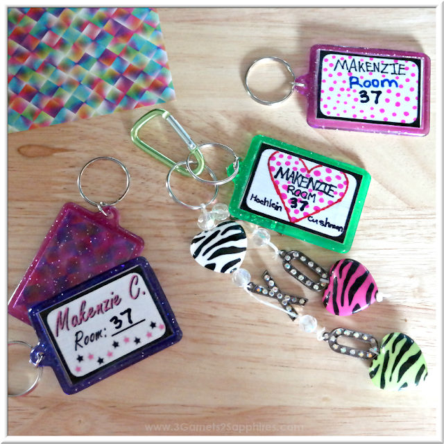 DIY Bag Tags & Bag Charms for Back-to-School  |  3 Garnets & 2 Sapphires
