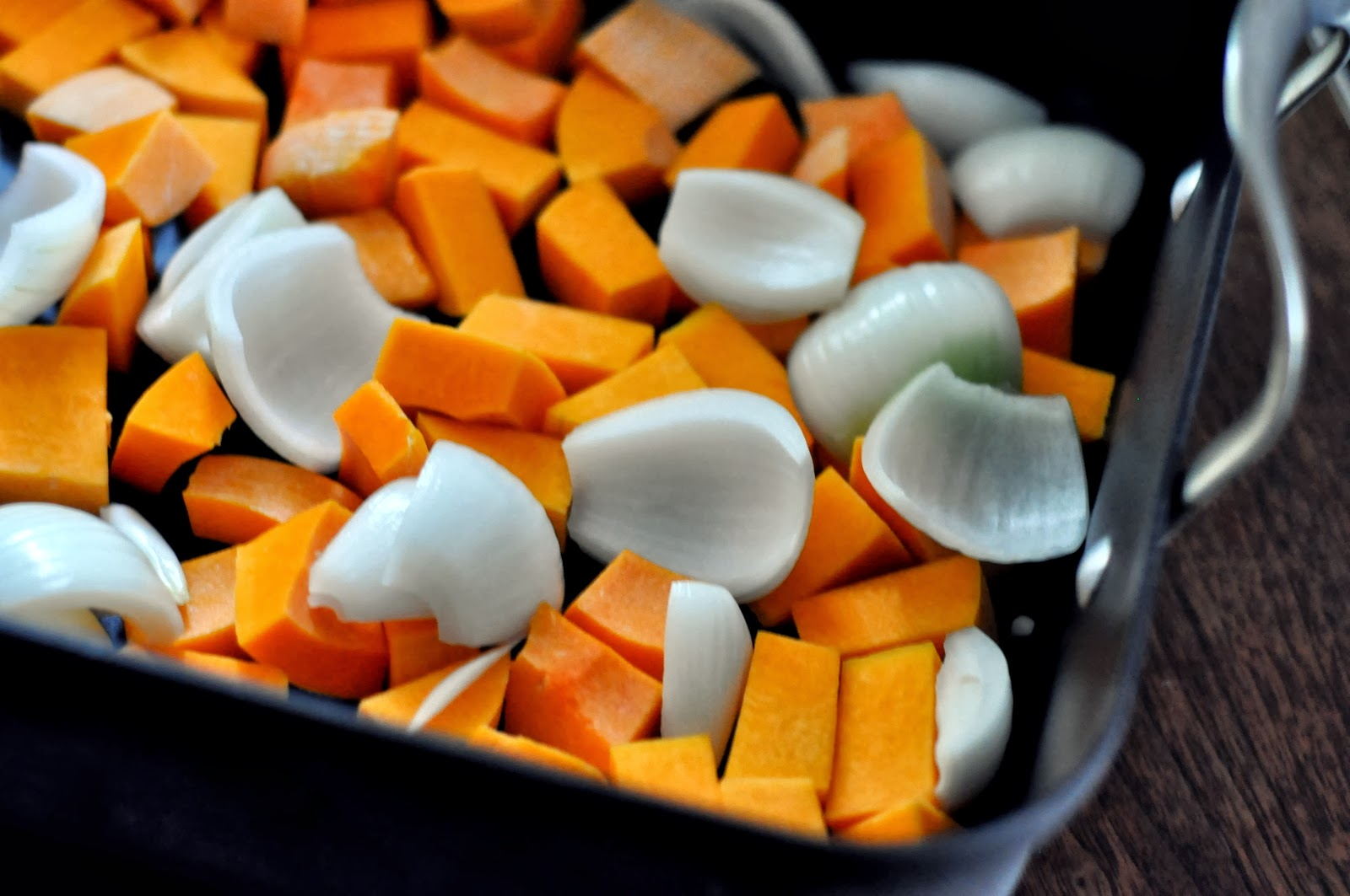 Roasting Pan with Butternut Squash and Onions | Taste As You Go