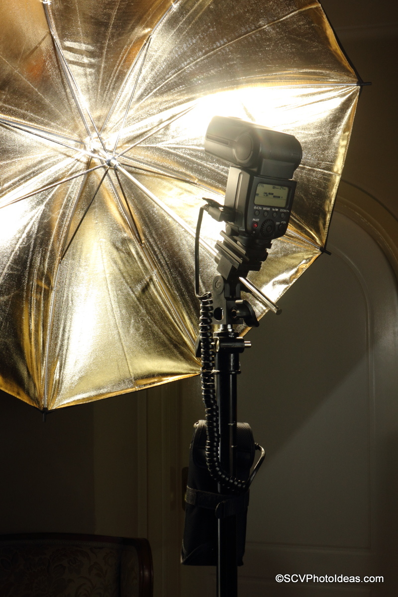 YongNuo SF-18 External Battery mounted on light stand pole