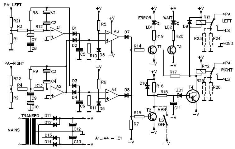 power amplifier speaker protection circuit schematic electronic