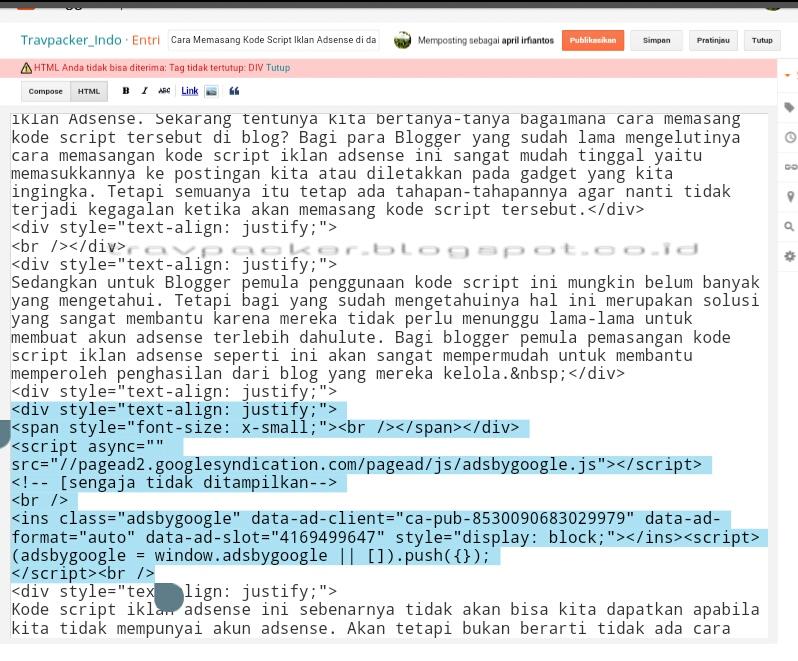 Cara Memasang Kode Script Iklan Adsense Di Dalam Postingan Blog