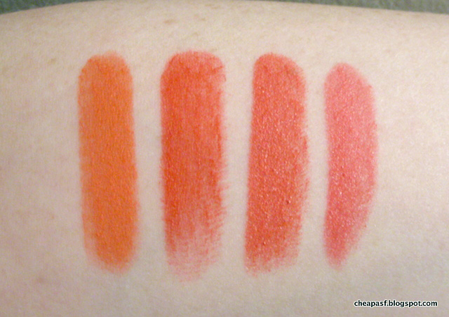 Swatches of Milani Matte Luxe, Wet N Wild Purty Persimmon, BareMinerals Light It Up, and NYX Butter Lipstick in Little Susie