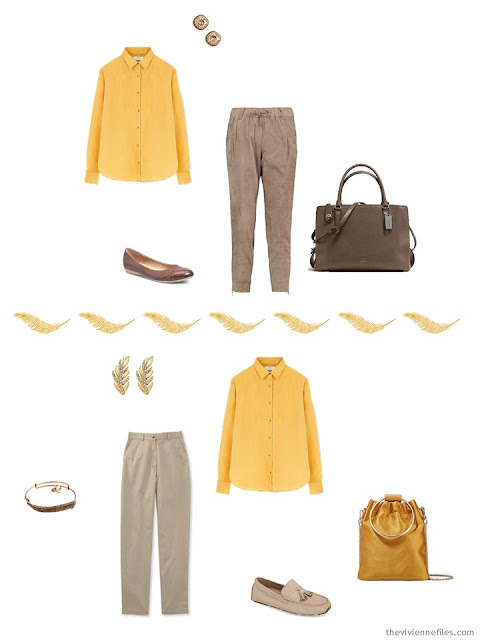 2 ways to wear a bright yellow shirt from a Tote Bag Travel Capsule Wardrobe