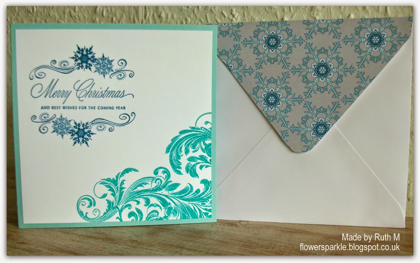 Flower sparkle august 2014 a partial bermuda bay flourish and stamped the sentiment in island indigo ink i used snowflake patterned paper to decorate the flap of the envelope kristyandbryce Choice Image