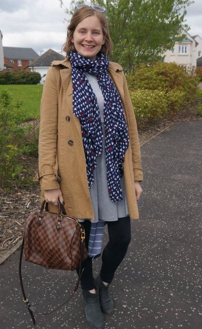 trench coat, scarf and cardigan with skater dress, ankle boots, louis vuitton speedy b bag brunch | away from the blue