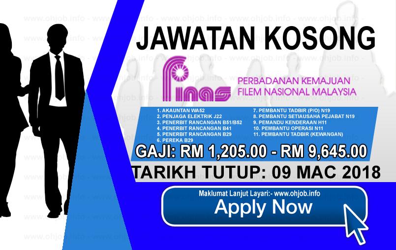 Jawatan Kerja Kosong Perbadanan Kemajuan Filem Nasional Malaysia - FINAS logo www.ohjob.info mac 2018