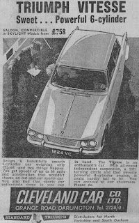 Cleveland Car Co Ltd, Darlington Triumph Vitesse advert from Northern Echo