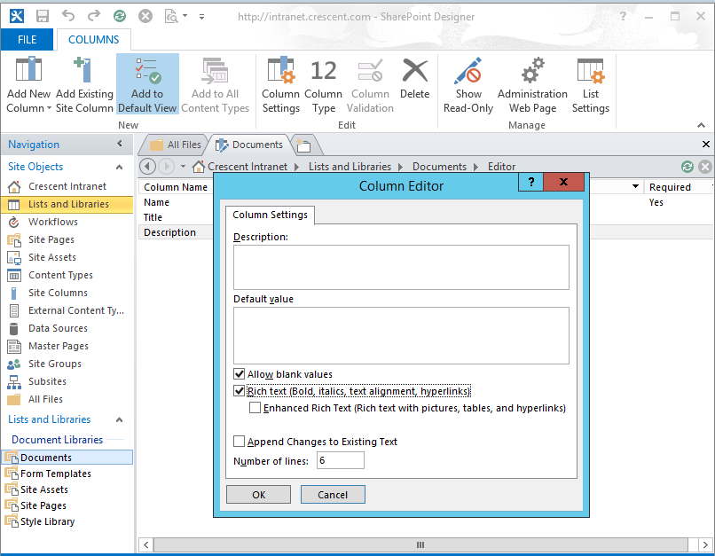 Rich Text Column in SharePoint Document Library - European ...