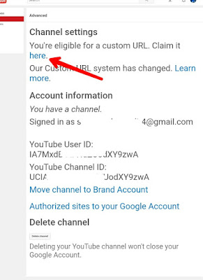 YouTube eligible Custom URL Claim It Here