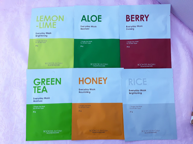 boom de ah dah 6 mask sheets in Lemon-Lime, Aloe, Berry, Green Tea, Honey and Rice.