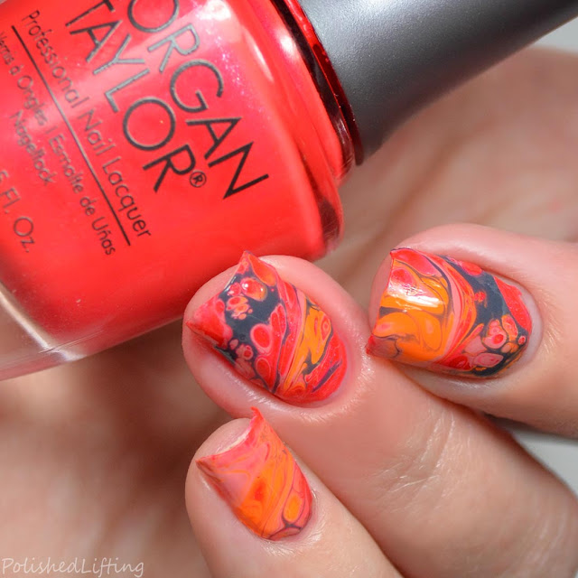 hot coral fluid nail art