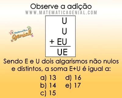 Questão concurso do Banco do Brasil - Sendo E e U dois algarismos não nulos...