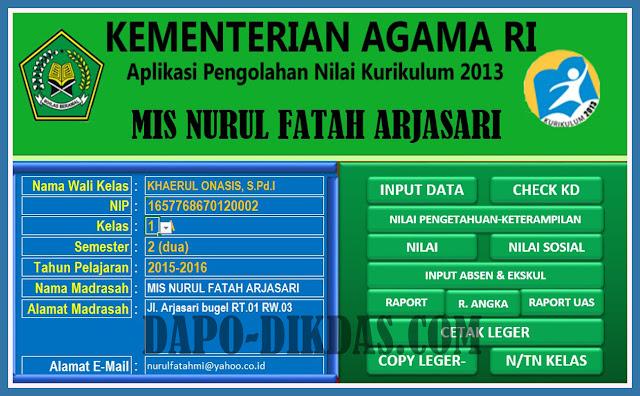 Download Aplikasi Raport Untuk Madrasah Ibtidaiyah Kurikulum 2013 Tahun 2018/2019