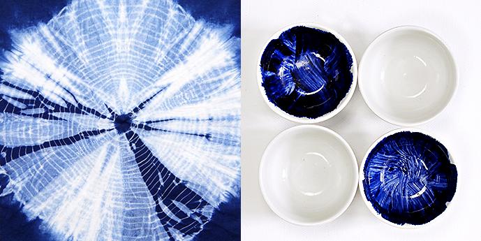 Ynas Design Blog | Shibori Tuch und bemalte Porzellanschalen