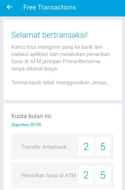 Jenius Free Transaction