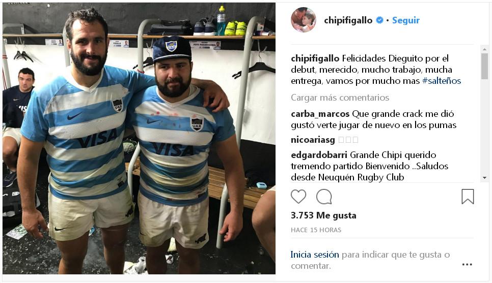 Figallo felicitó a Fortuny por el debut en Los Pumas