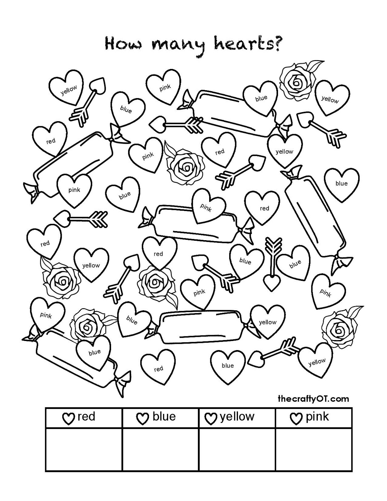 February Fine Motor Skill Worksheet