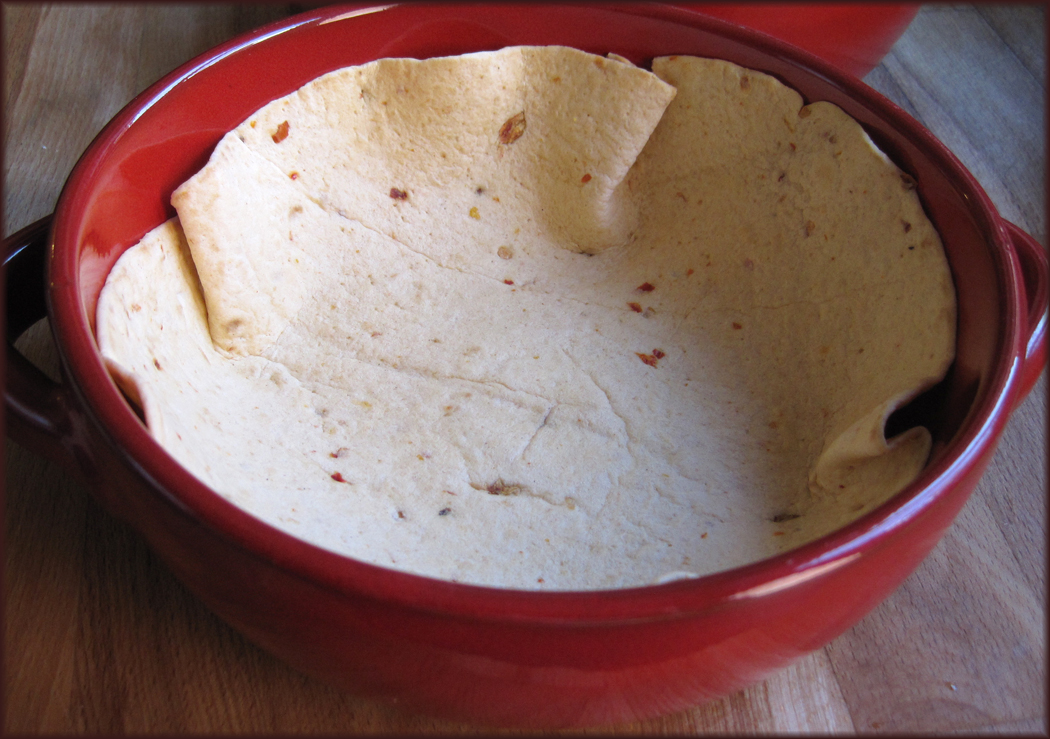 Tortilla wraps in a dish